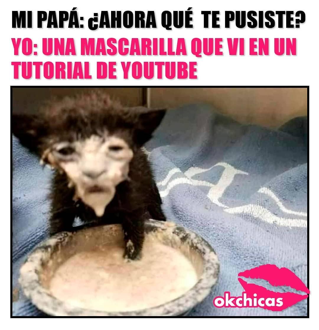 Mi papá: Qué te pusiste? Yo: Una mascarilla que vi en un tutorial de YouTube.