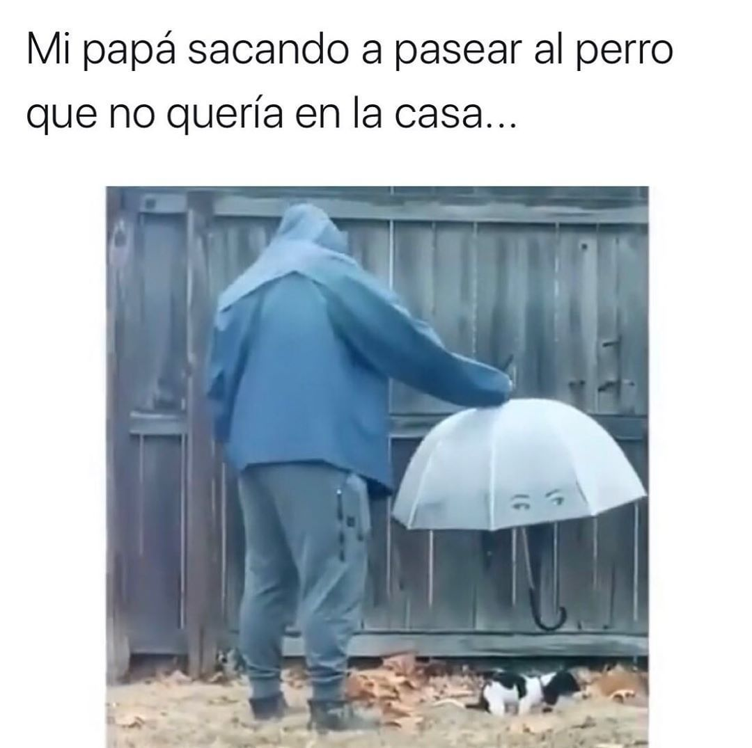 Mi papá sacando a pasear al perro que no quería en la casa...