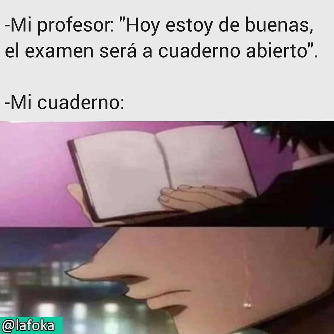 """Mi profesor: """"Hoy estoy de buenas, el examen será a cuaderno abierto"""".  Mi cuaderno:"""