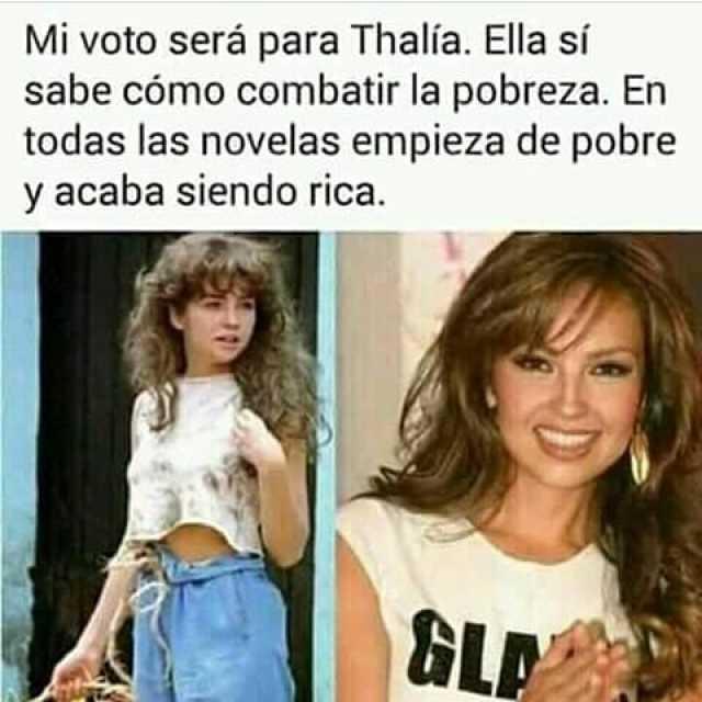 Mi voto será para Thalía. Ella sí sabe cómo combatir la pobreza. En todas las novelas empieza de pobre y acaba siendo rica.