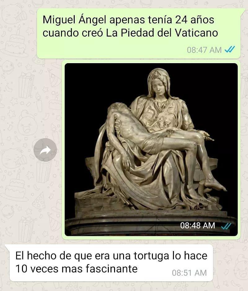 Miguel Ángel apenas tenía 24 años cuando creó La Piedad del Vaticano.  El hecho de que era una tortuga lo hace 10 veces más fascinante.