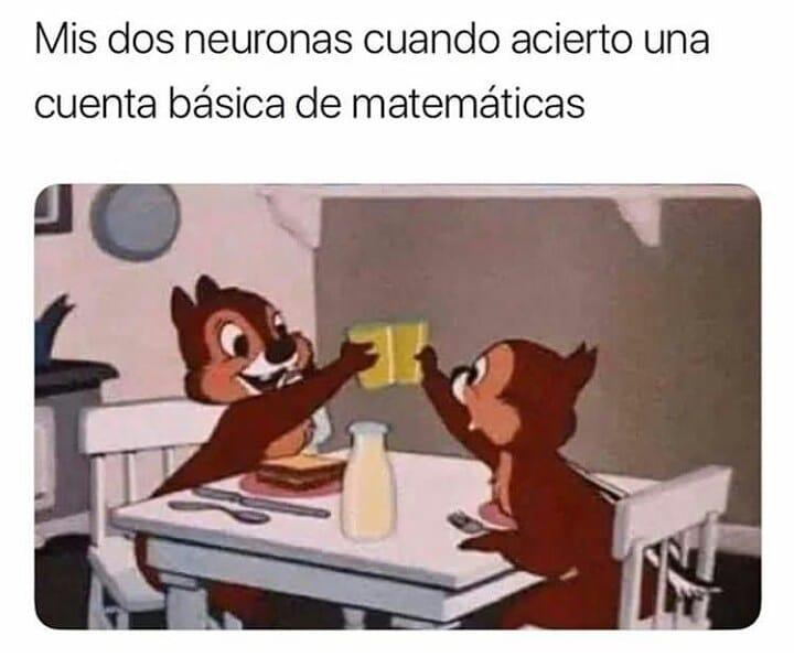 Mis dos neuronas cuando acierto una cuenta básica de matemáticas.