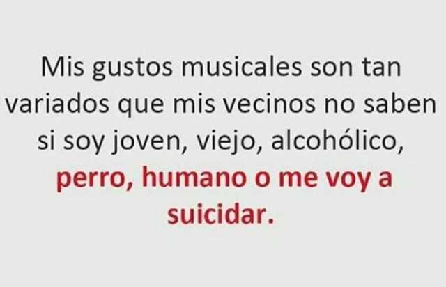 Mis gustos musicales son tan variados que mis vecinos no saben si soy joven, viejo, alcohólico, perro, humano o me voy a suicidar.