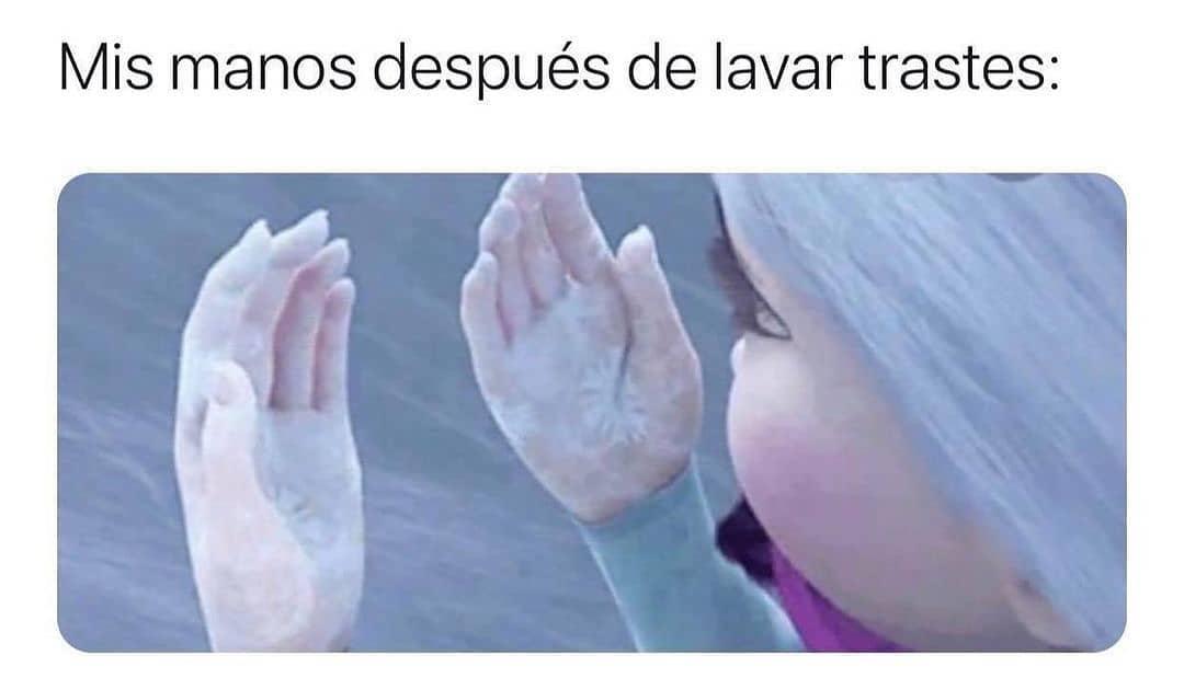 Mis manos después de lavar trastes: