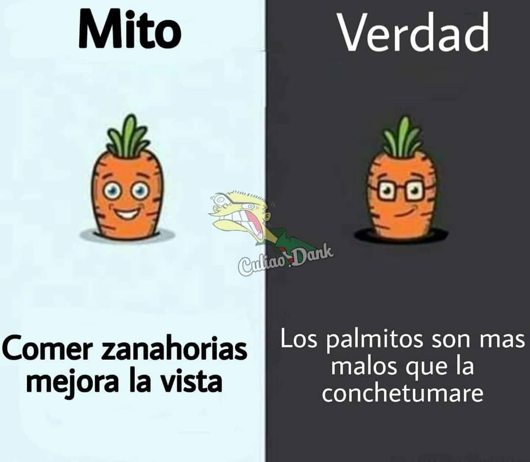 Mito: Comer zanahorias mejora la vista.  Verdad: Los palmitos son más malos que la conchetumare.