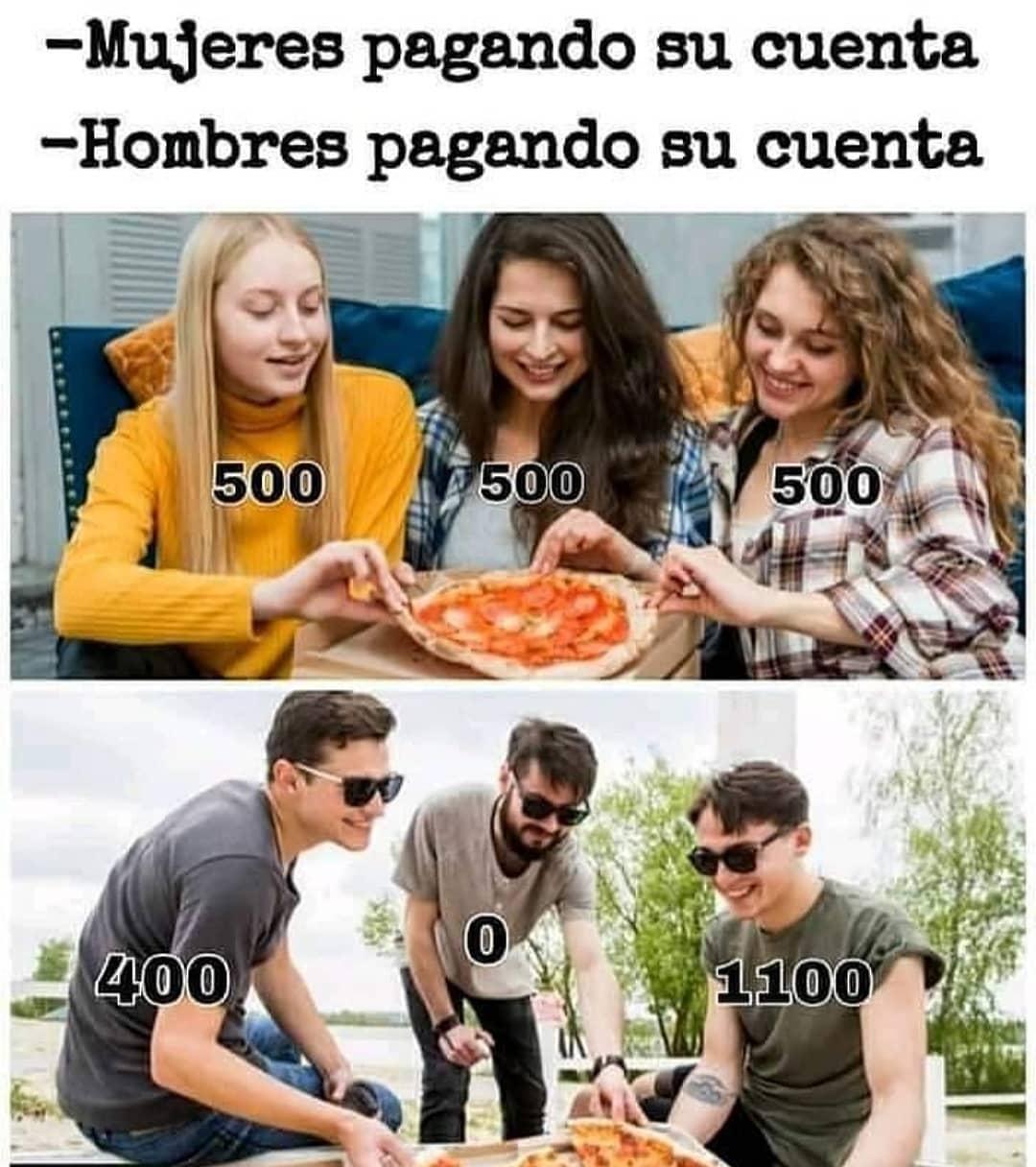 Mujeres pagando su cuenta: 500 500 500.  Hombres pagando su cuenta: 400 0 1100.