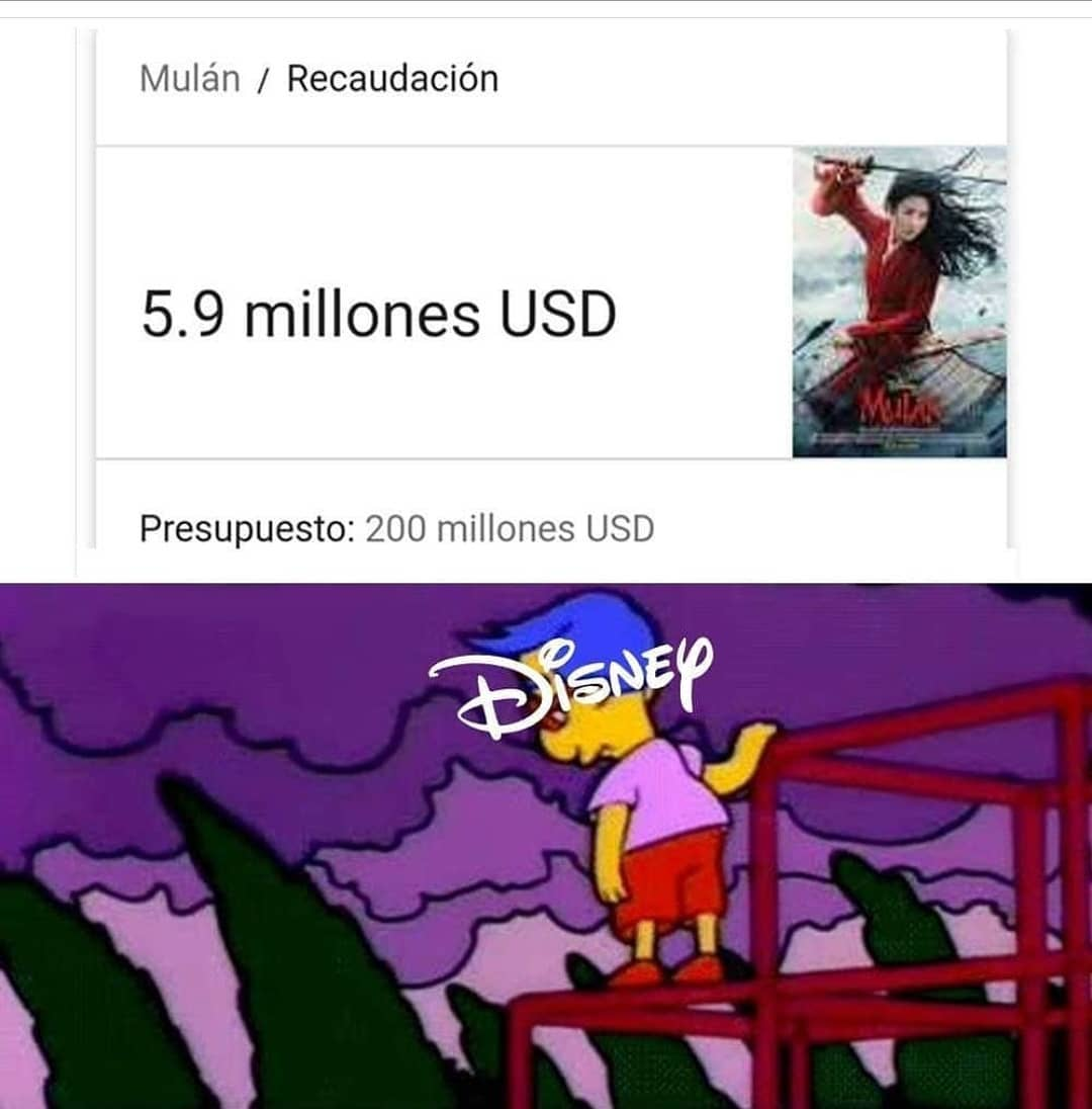 Mulán / Recaudación 5.9 millones USD.    Presupuesto: 200 millones USD.