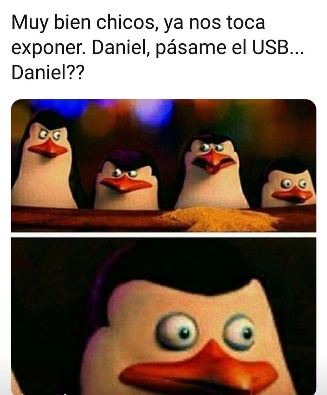 Muy bien chicos, ya nos toca exponer. Daniel, pásame el USB... Daniel??