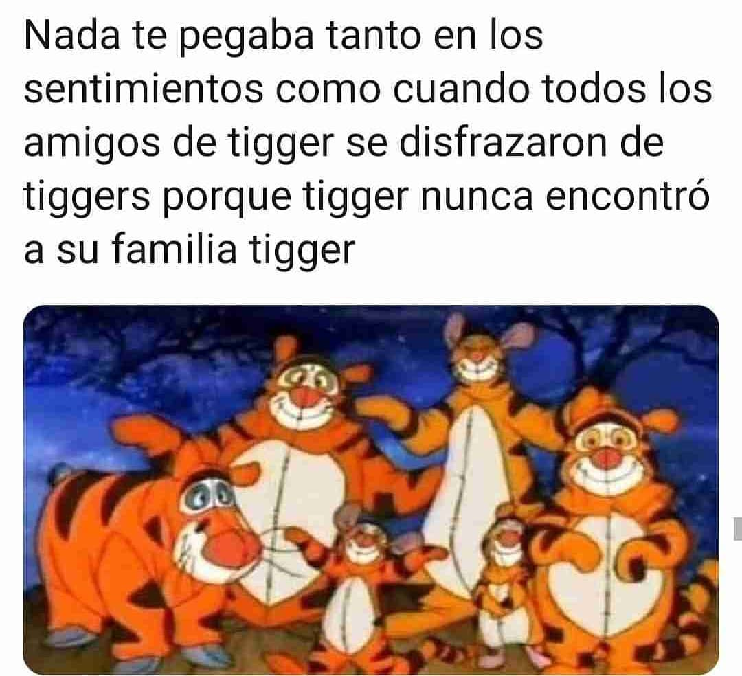 Nada te pegaba tanto en los sentimientos como cuando todos los amigos de tigger se disfrazaron de tiggers porque tigger nunca encontró a su familia tigger.