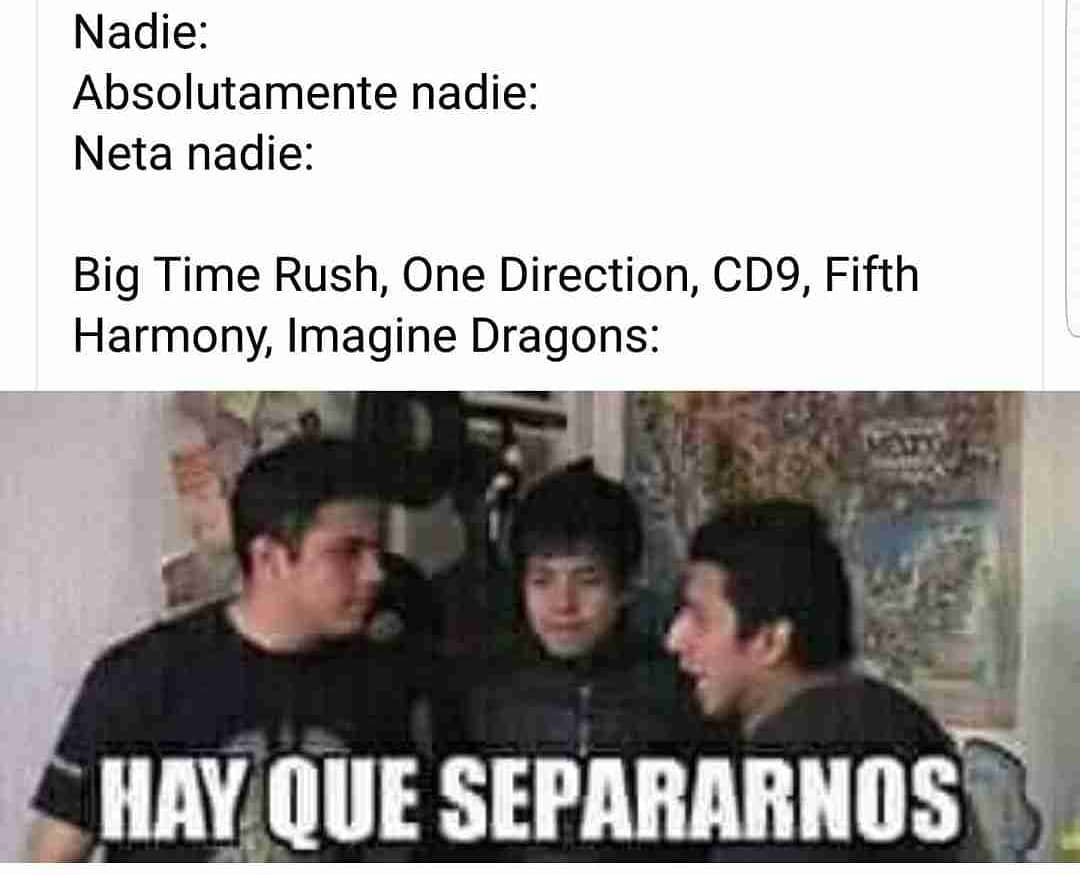 Nadie: Absolutamente nadie: Neta nadie:  Big Time Rush, One Direction, CD9, Fifth Harmony, Imagine Dragons:  Hay que separarnos.