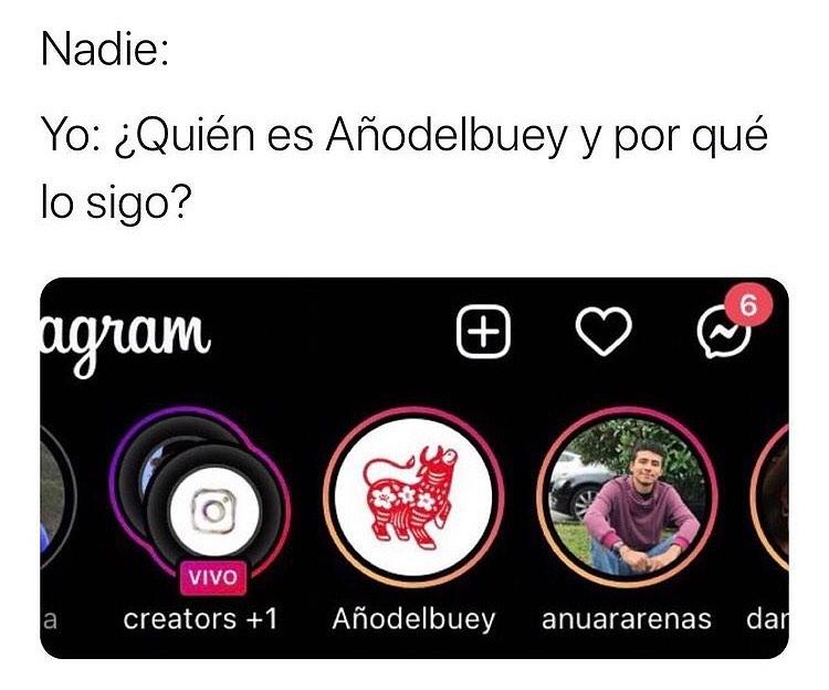 Nadie: Yo: ¿Quién es Añodelbuey y por qué lo sigo?