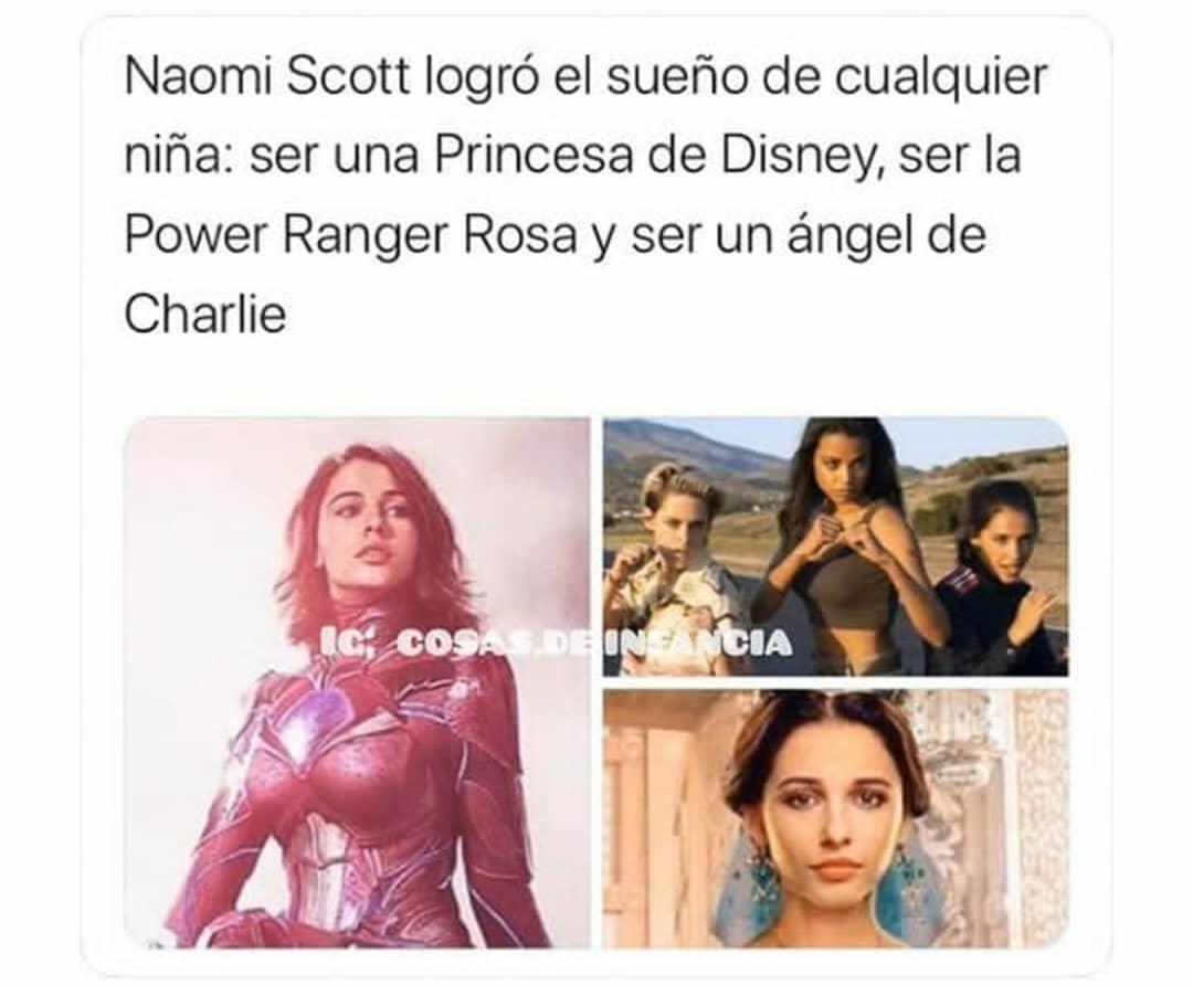 Naomi Scott logró el sueño de cualquier niña: ser una Princesa de Disney, ser la Power Ranger Rosa y ser un ángel de Charlie.