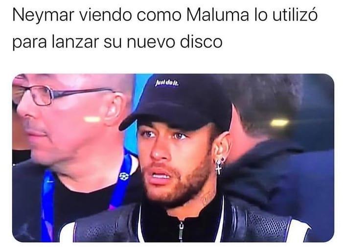 Neymar viendo como Maluma lo utilizó para lanzar su nuevo disco.