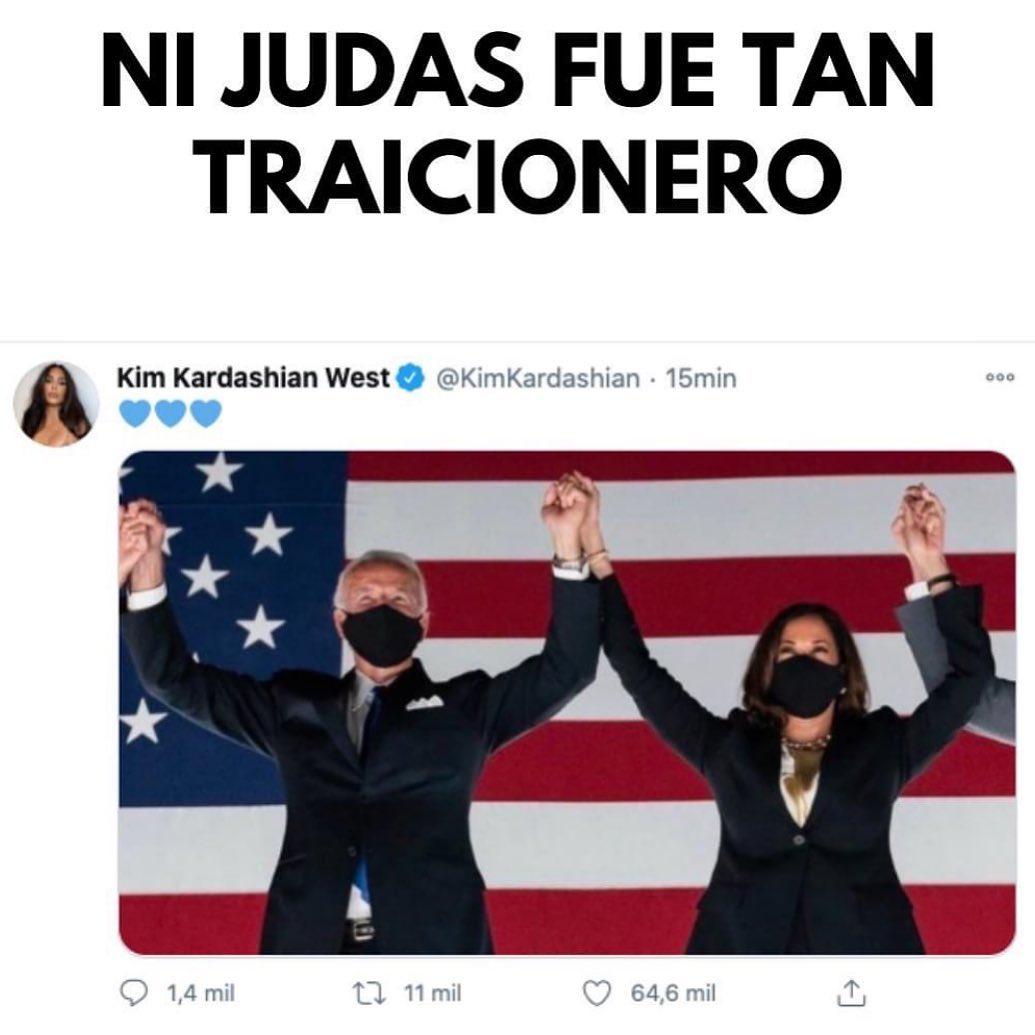 Ni judas fue tan traicionero.  Kim Kardashian West.