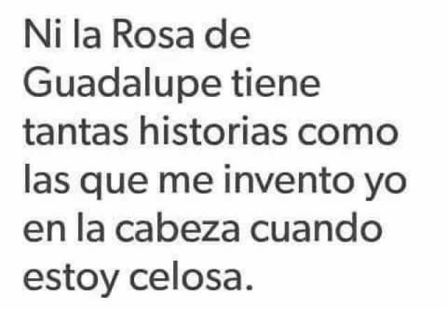 Ni la Rosa de Guadalupe tiene tantas historias como las que me invento yo en la cabeza cuando estoy celosa.