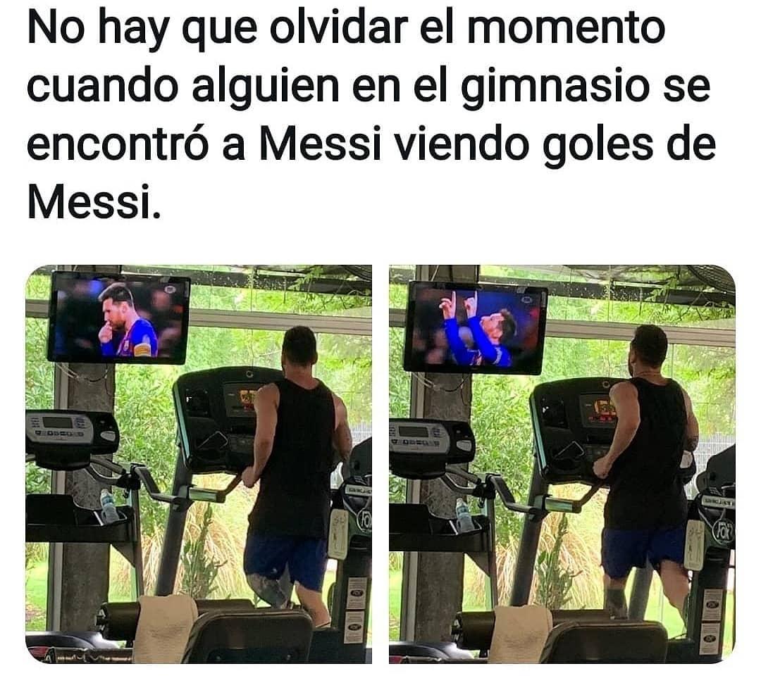 No hay que olvidar el momento cuando alguien en el gimnasio se encontró a Messi viendo goles de Messi.