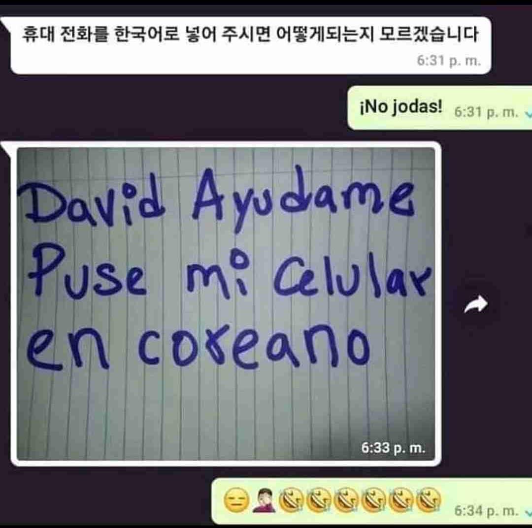 ¡No jodas!  David ayúdame puse mi celular en coreano.