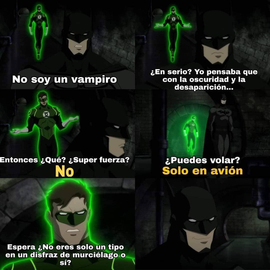 No soy un vampiro.  ¿En serio? Yo pensaba que con la oscuridad y la desaparición...  Entonces ¿Qué? ¿Super fuerza? No.  ¿Puedes volar? Solo en avión  Espera ¿No eres solo un tipo en un disfraz de murciélago,o sí?