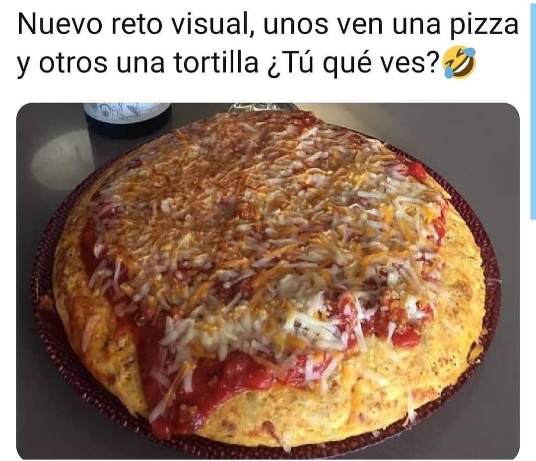 Nuevo reto visual, unos ven una pizza y otros una tortilla ¿Tú qué ves?