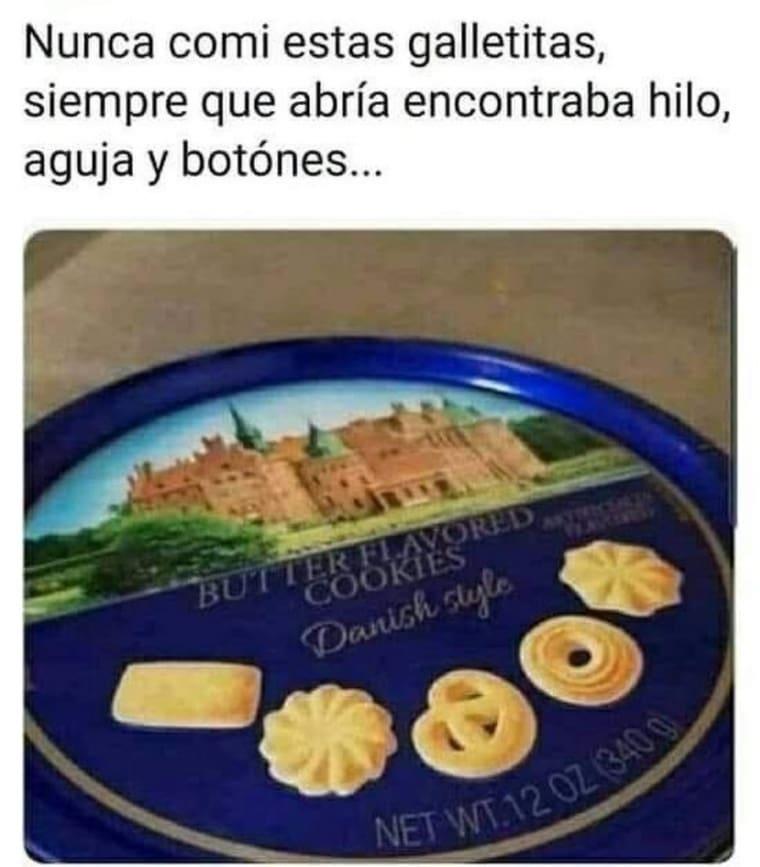 Nunca comi estas galletitas, siempre que abría encontraba hilo, aguja y botónes.