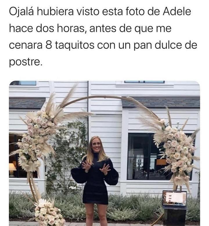 Ojalá hubiera visto esta foto de Adele hace dos horas, antes de que me cenara 8 taquitos con un pan dulce de postre.