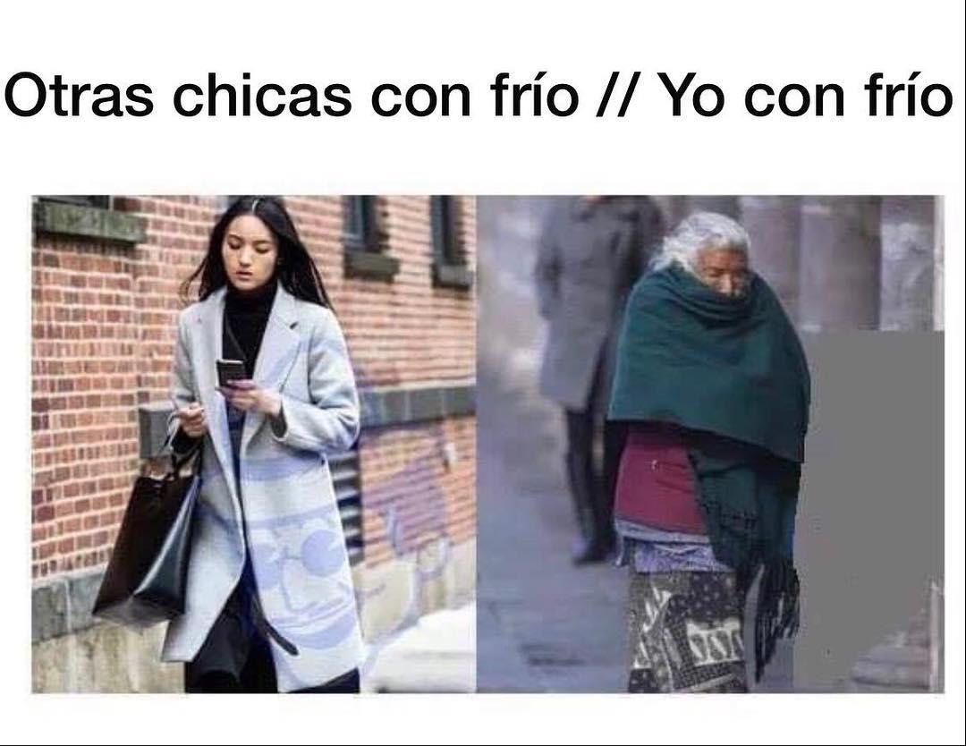 Otras chicas con frío. // Yo con frío.