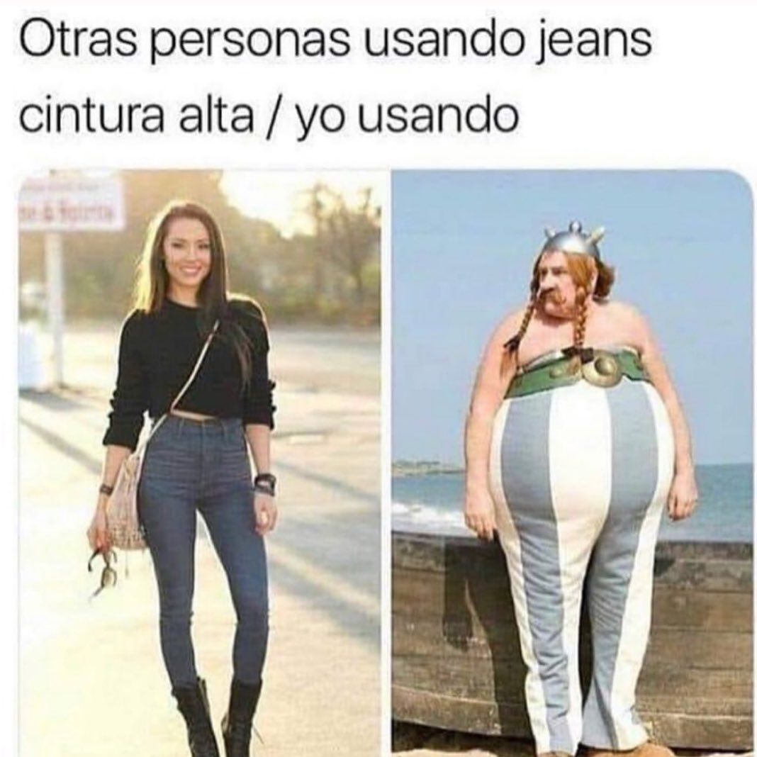 Otras personas usando jeans cintura alta. / Yo usando.
