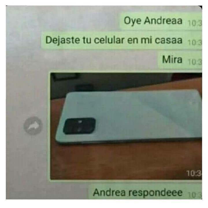 Oye Andreaa. Dejaste tu celular en mi casaa. Mira. Andrea respondeee.
