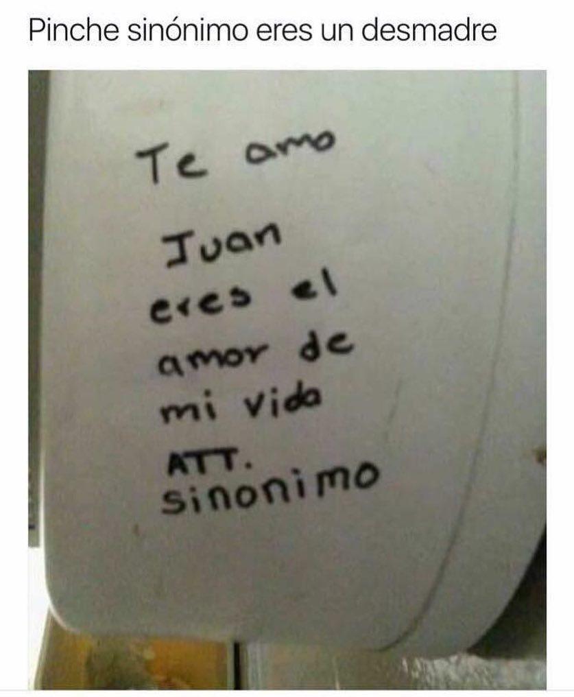 Pinche sinónimo eres un desmadre.  Te amo Juan eres el amor de mi vida.  Att. Sinónimo.