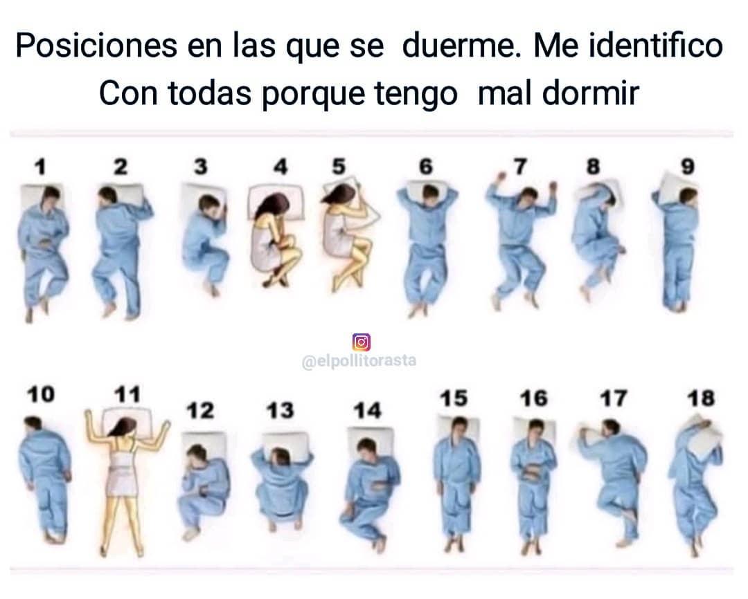 Posiciones en las que se duerme. Me identifico con todas porque tengo mal dormir.