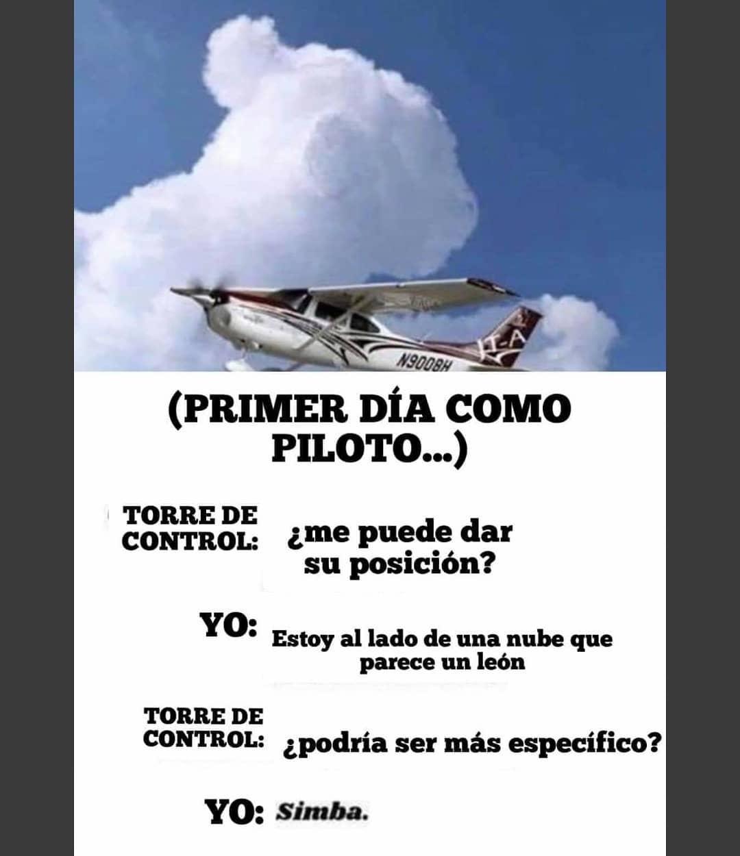 Primer día como piloto...  Torre de control: ¿Me puede dar su posición?  Yo: Estoy al lado de una nube que parece un león.  Torre de control: ¿Podría ser más específico?  Yo: Simba.
