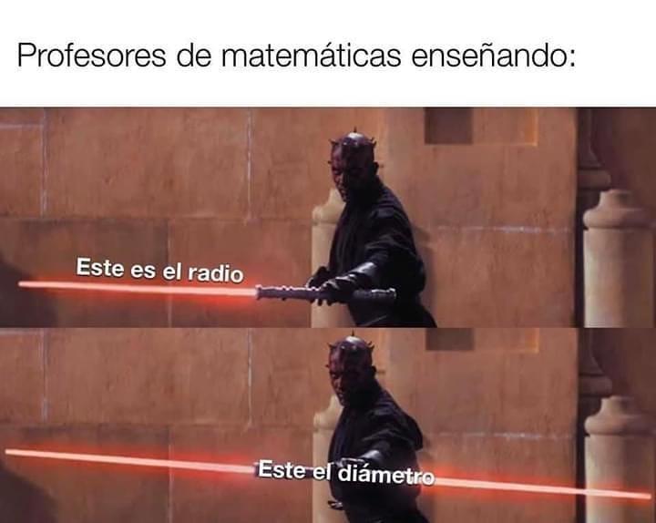 Profesores de matemáticas enseñando:  Este es el radio. Este el diámetro.