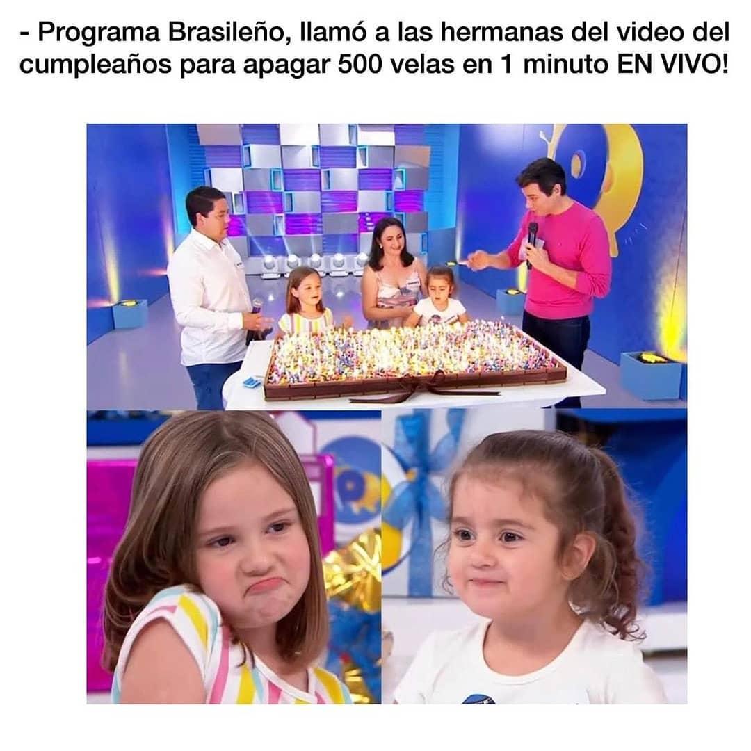Programa Brasileño, llamó a las hermanas del video del cumpleaños para apagar 500 velas en 1 minuto.