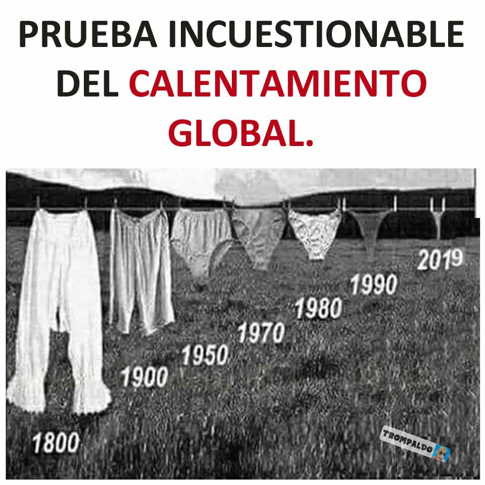 Prueba incuestionable del calentamiento global.  1800 1900 1950 1970 1980 1990 2019