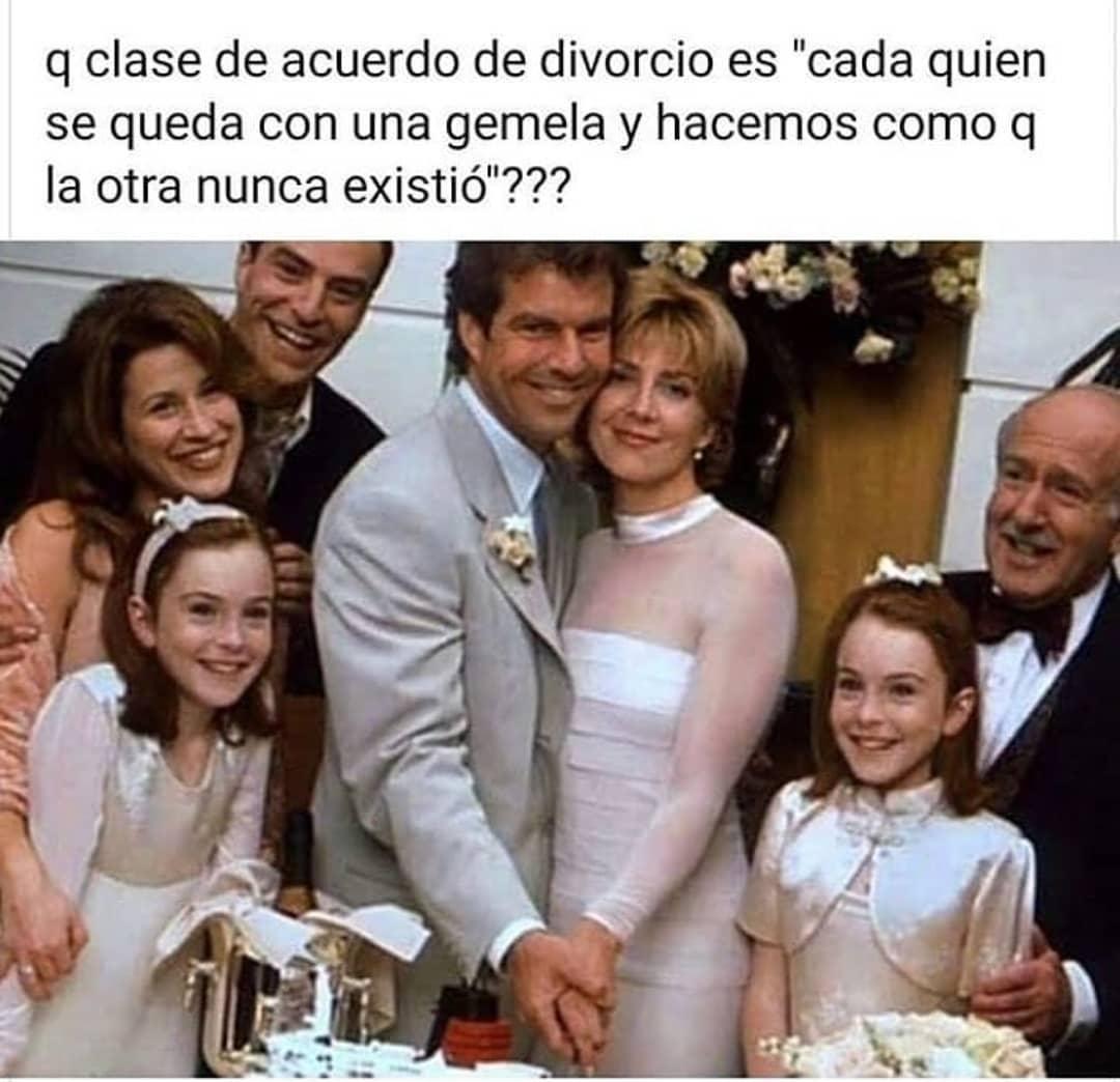 """Q clase de acuerdo de divorcio es """"cada quien se queda con una gemela y hacemos como q la otra nunca existió""""???"""