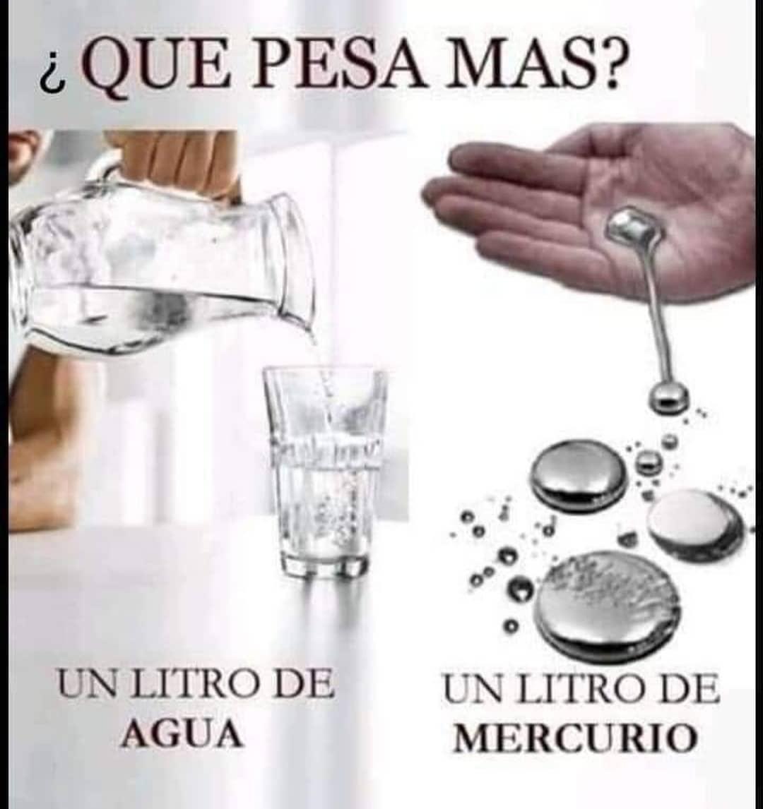¿Que pesa mas? Un litro de agua. Un litro de mercurio.