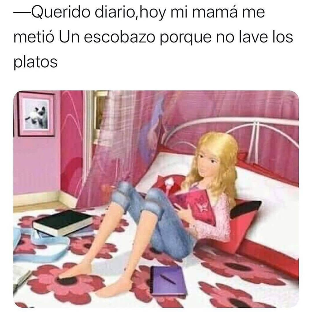 Querido diario, hoy mi mamá me metió Un escobazo porque no lave los platos.