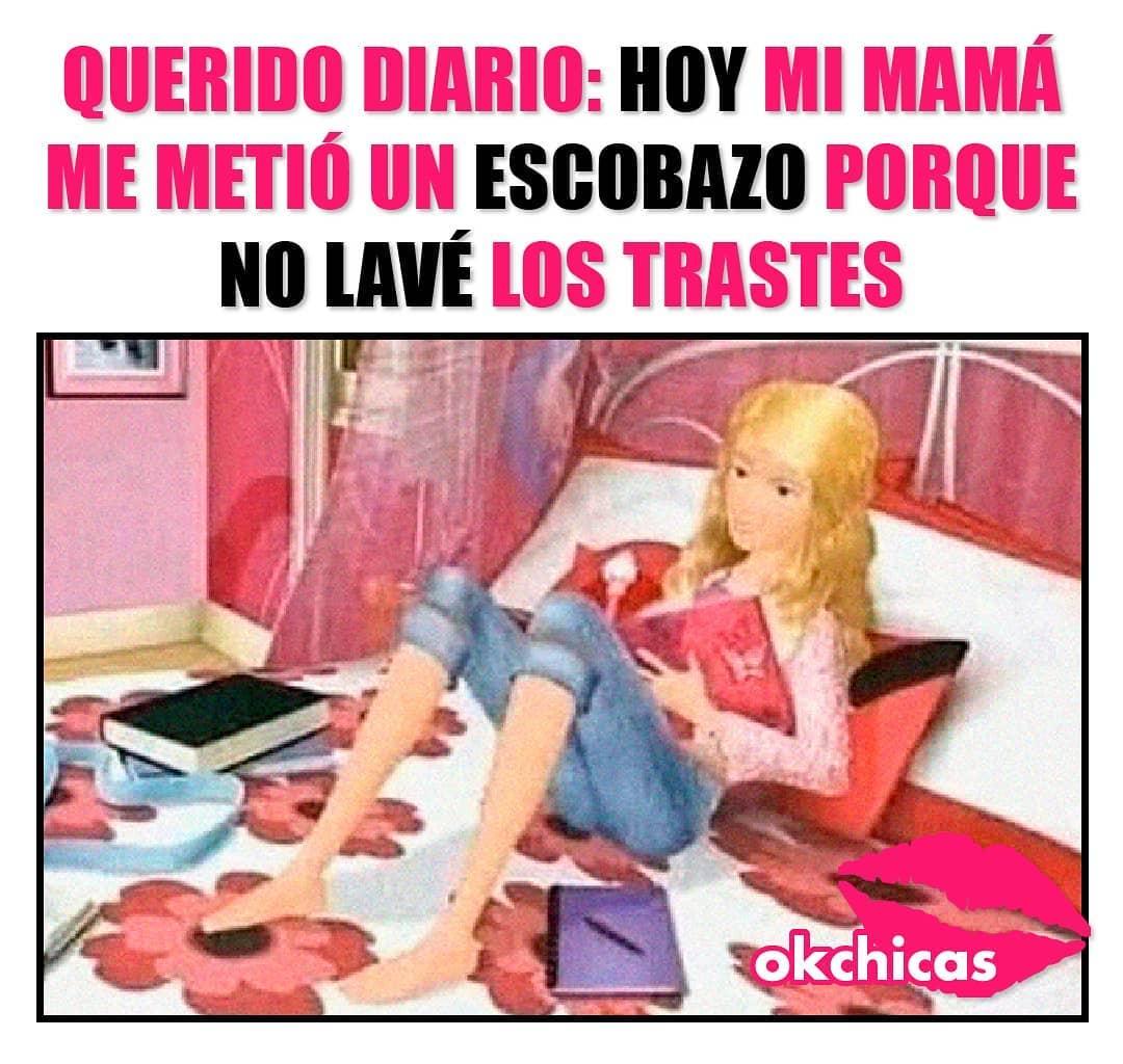 Querido diario: Hoy mi mamá me metió un escobazo porque no lavé los trastes.