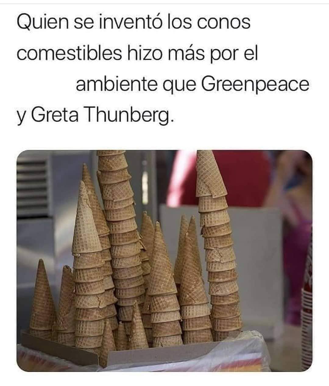 Quien se inventó los conos comestibles hizo más por el ambiente que Greenpeace y Greta Thunberg.