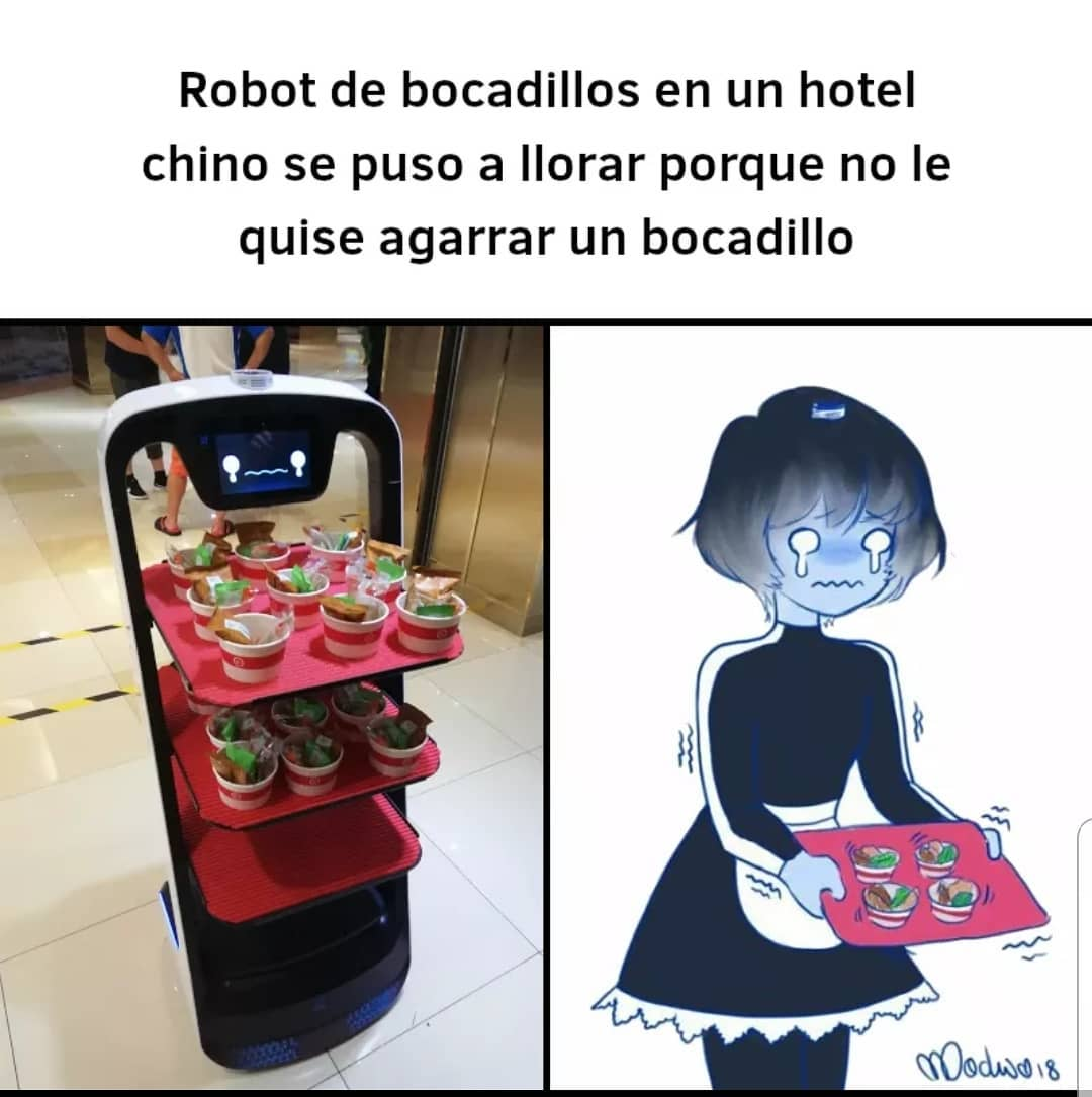 Robot de bocadillos en un hotel chino se puso a llorar porque no le quise agarrar un bocadillo.