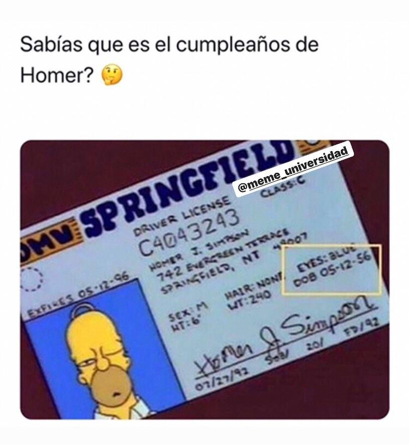 Sabías que es el cumpleaños de Homer?