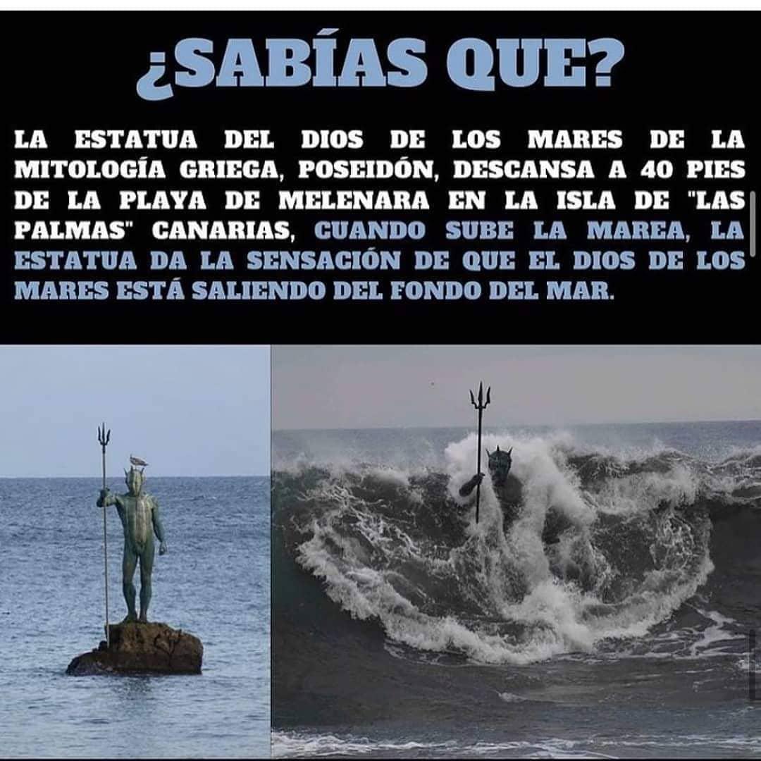 """¿Sabías que? la estatua del dios de los mares de la mitología griega, poseidón, descansa a 40 pies de la playa de melenara en la isla de """"las palmas"""" canarias, cuando sube la marea, la estatua da la sensación de que el dios de los mares está saliendo del fondo del mar."""