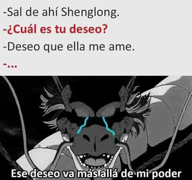 Sal de ahí Shenglong.  ¿Cuál es tu deseo?  Deseo que ella me ame.  Ese deseo va más allá de mi poder.
