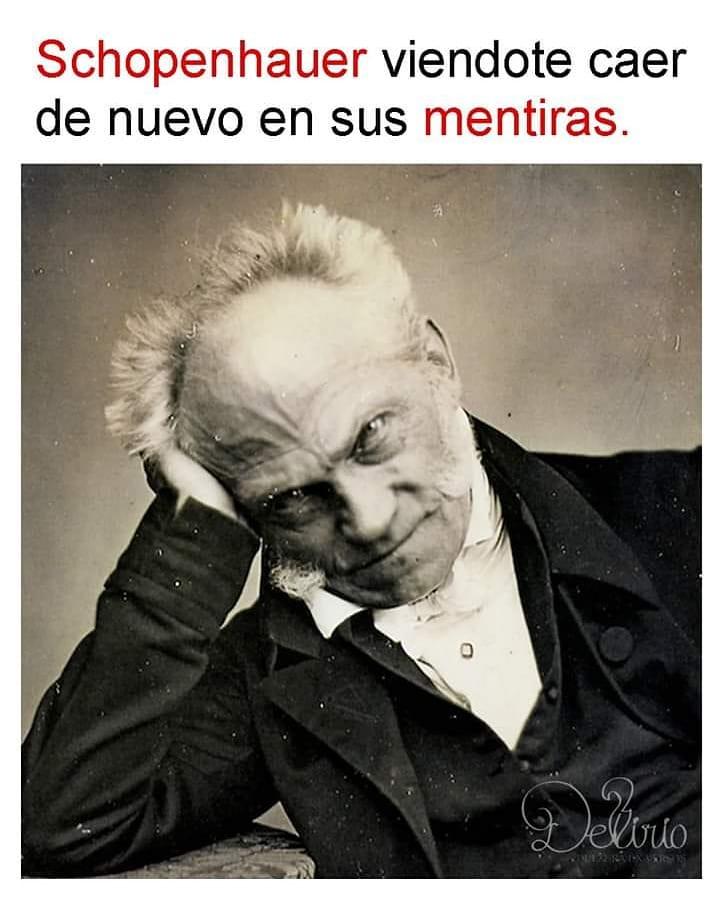 Schopenhauer viéndote caer de nuevo en sus mentiras.