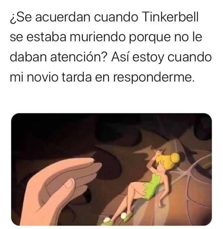 ¿Se acuerdan cuando Tinkerbell se estaba muriendo porque no le daban atención? Así estoy cuando mi novio tarda en responderme.