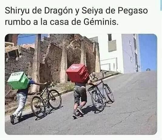 Shiryu de Dragón y Seiya de Pegaso rumbo a la casa de Géminis.