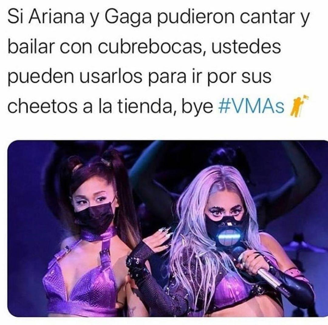 Si Ariana y Gaga pudieron cantar y bailar con cubrebocas, ustedes pueden usarlos para ir por sus cheetos a la tienda, bye.