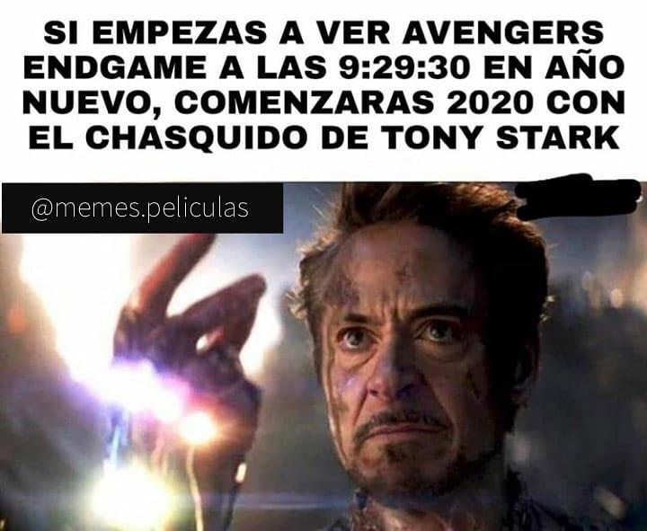 Si empezas a ver Avengers Endgame a las 9:29:30 en año nuevo, comenzarás 2020 con el chasquido de Tony Stark.