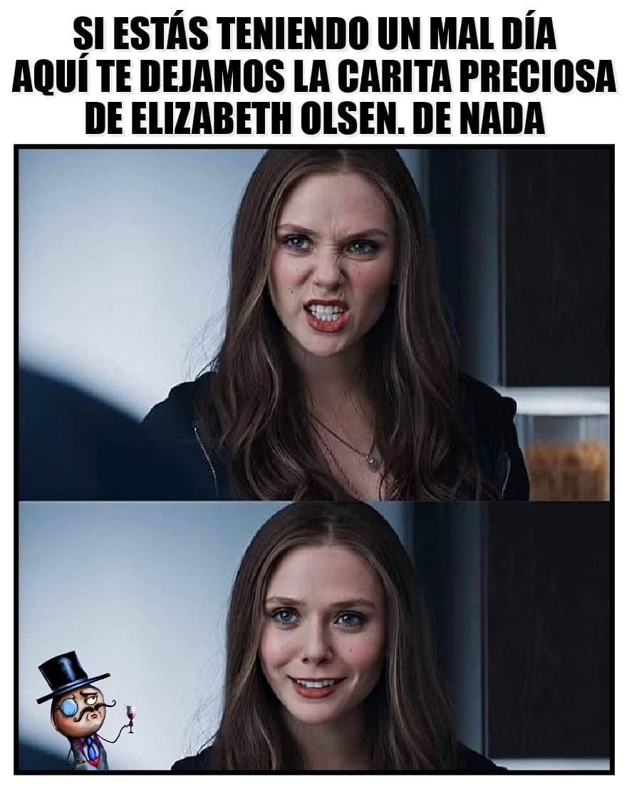 Si estás teniendo un mal día aquí te dejamos la carita preciosa de Elizabeth Olsen. De nada.