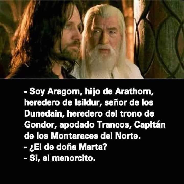 Soy Aragorn, hijo de Arathorn, heredero de Isildur, señor de los Dunedain, heredero del trono de Gondor, apodado Trancos, Capitán de los Montaraces del Norte.  ¿El de doña Marta?  Sí, el menorcito.